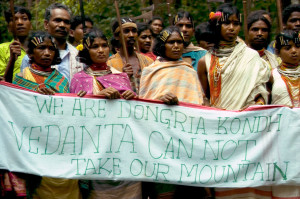 The Dongria Kondh send a message to Vedanta (© Survival International)