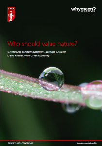 Who should value nature? (Why Green Economy?)